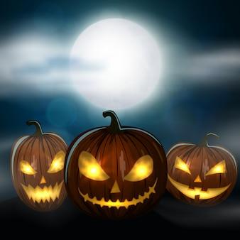 Calabazas de halloween talladas, colorida ilustración de halloween de miedo.