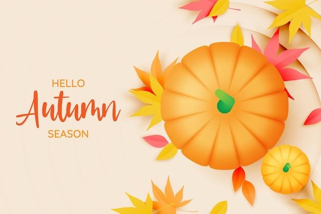 Calabazas con ilustración de vector de fondo de hojas de otoño