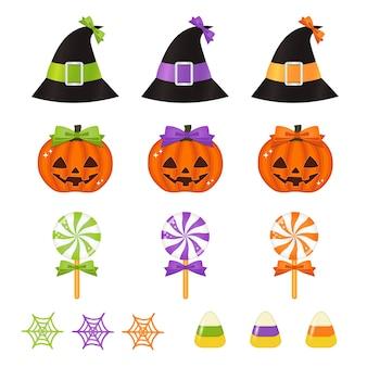 Calabazas lindas de halloween, dulces y sombreros de bruja