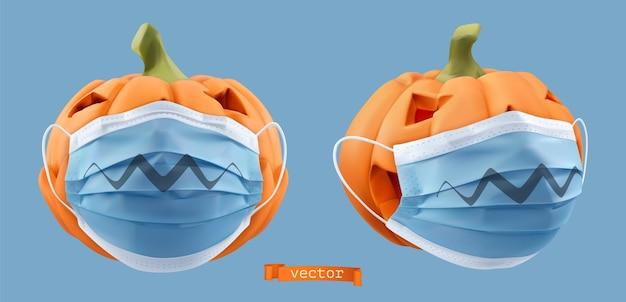 Calabazas en mascarillas quirúrgicas. fiesta de halloween. objeto realista vector 3d