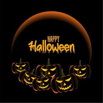 Calabazas de miedo en la tarjeta de felicitación de halloween feliz