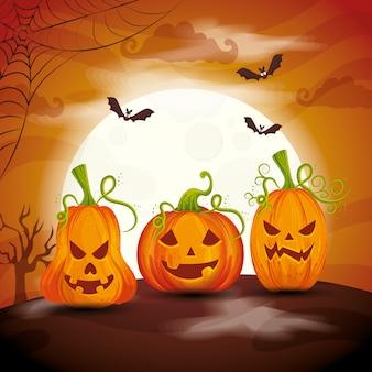 Calabazas con murciélagos volando en escena ilustración de halloween
