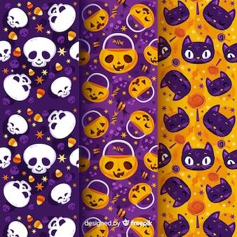 Calavera de calabaza y gatos colección plana de patrones de halloween