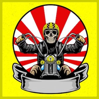 Calavera con casco clásico montando moto.
