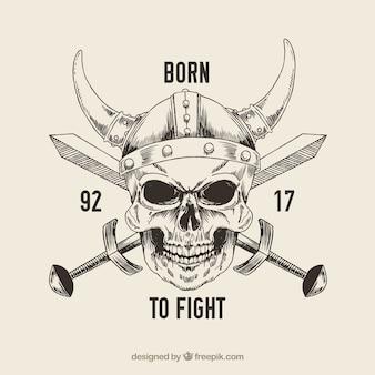 Calavera con casco de vikingo y espada