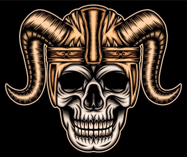 Calavera con casco vikingo.