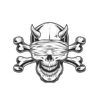 Calavera de demonio con los ojos vendados y huesos cruzados