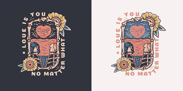 Calavera enamorada ilustración para camiseta