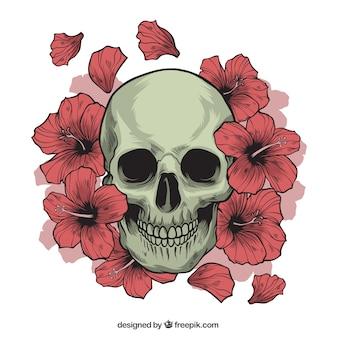 Calavera con flores dibujadas a mano