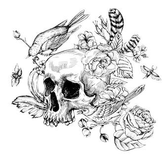 Calavera con flores, rosas, pájaros y plumas.