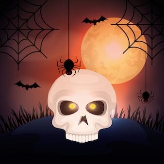 Calavera de halloween con luna y murciélagos volando