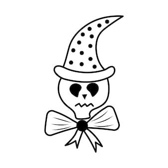 Calavera de halloween en un sombrero mágico y con un lazo en la ilustración de vector de estilo doodle