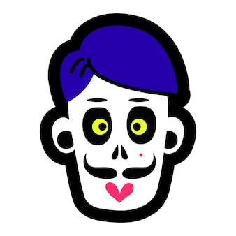 La calavera de un hombre zombie una calavera para el diseño conceptual de la ilustración de vector de celebración de halloween ...
