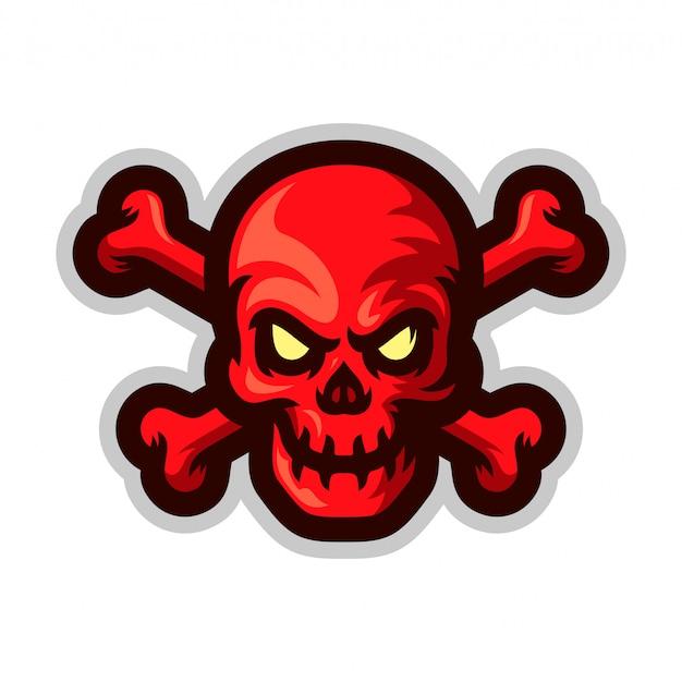 Calavera con ilustración de vector de logo de mascota de bandera pirata