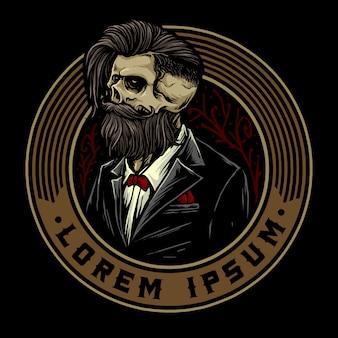 Calavera con insignia de barbería retro y herramientas de barbería adecuadas para el logotipo de peinado de barbero