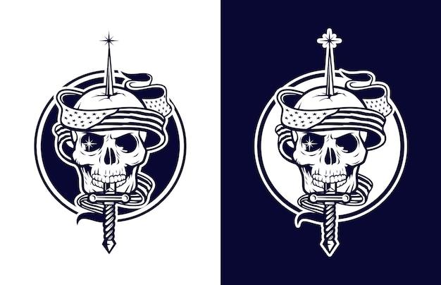 Calavera de lujo y vintage con bandera americana y logo de armas