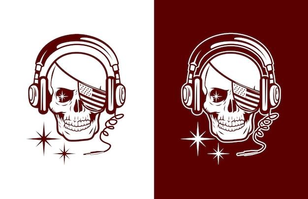 Calavera de lujo y vintage con bandera estadounidense cubierta en un ojo y logotipo de auriculares
