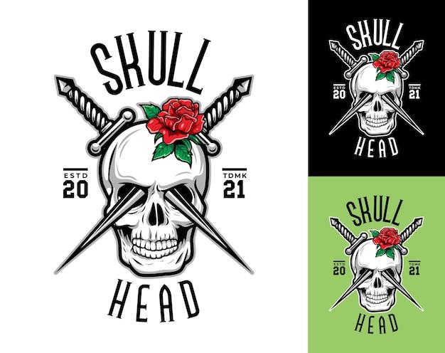Calavera de lujo y vintage con bandera estadounidense, cuchillos y logo de rosas rojas