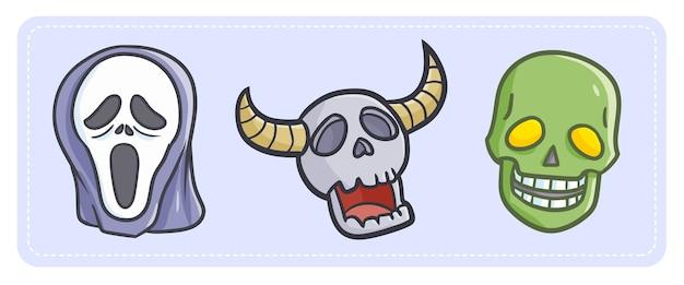 Calavera y máscara divertidas y aterradoras para halloween