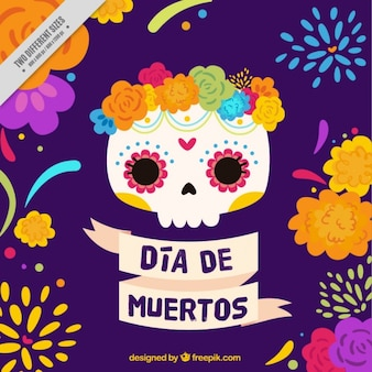 Calavera mexicana con flores para el día de los muertos