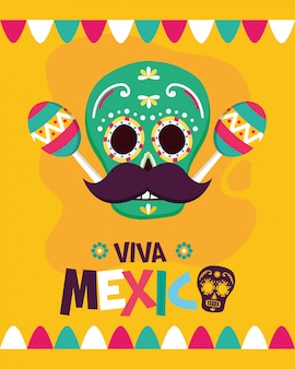 Calavera mexicana con maracas