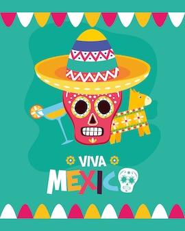 Calavera mexicana, piñata y cóctel