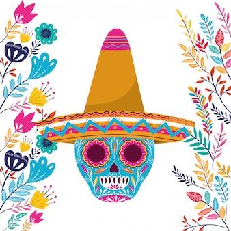 Calavera mexicana con sombrero en blanco