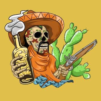 Calavera mexicana con sombrero, pistolas y cerveza