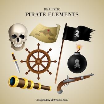 Calavera y otros elementos de piratas