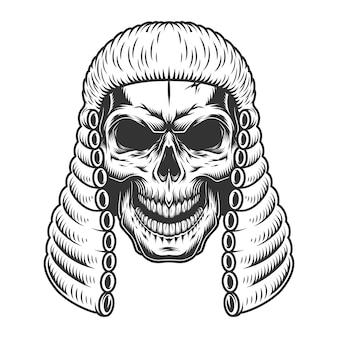 Calavera en la peluca del juez