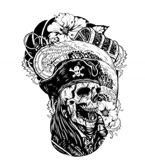 Calavera pirata con dibujo vectorial de barco a mano dibujando.