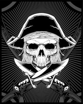 Calavera pirata con espada