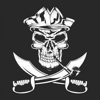 Calavera pirata y espadas