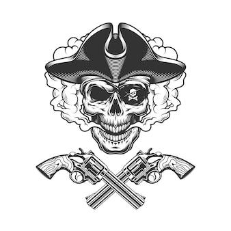Calavera pirata vintage con parche en el ojo