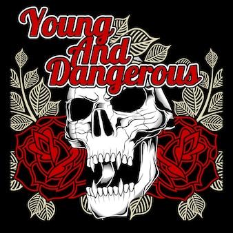 Calavera y rosa joven y peligrosa