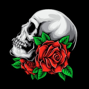 Calavera con rosas