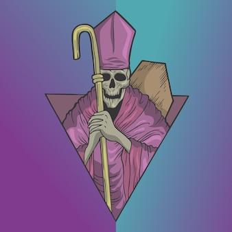 Calavera de sacerdote espeluznante