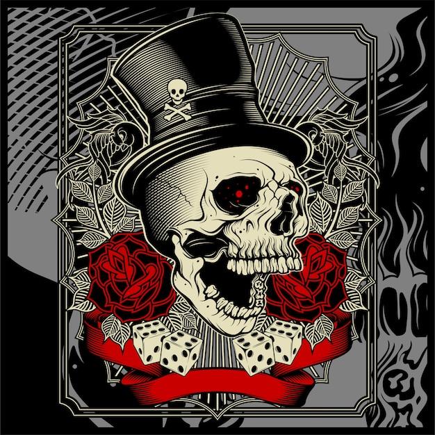 Calavera con sombrero y decoración de rosa de dados -