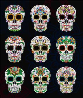 Calaveras de azúcar mexicanas con conjunto de estampado floral, ilustración del día de los muertos