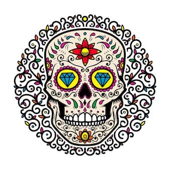 Calaveras de azúcar mexicanas con fondo floral. dia de los muertos.