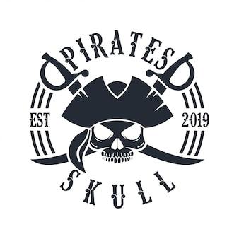 Calaveras y cruces de espadas piratas logo