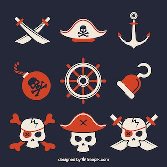 Calaveras y elementos de piratas