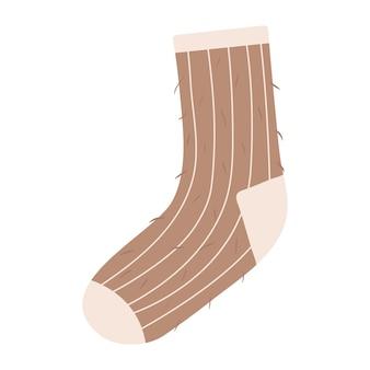 Calcetín de lana cálido vector dibujado a mano para clima frío en otoño o invierno