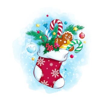 Calcetín de navidad con regalos y dulces.