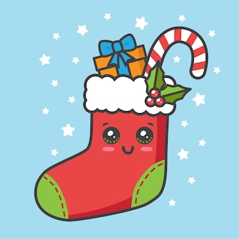 Calcetín navideño con regalo y bastón canday