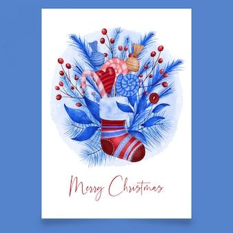 Calcetín rojo de navidad con dulces