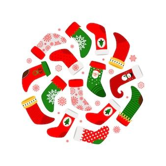 Calcetines navideños y copos de nieve rojos alrededor de banner