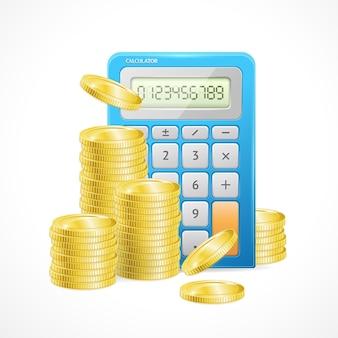 De calculadora azul y pilas de monedas de oro. el concepto de gestión eficaz del presupuesto financiero.
