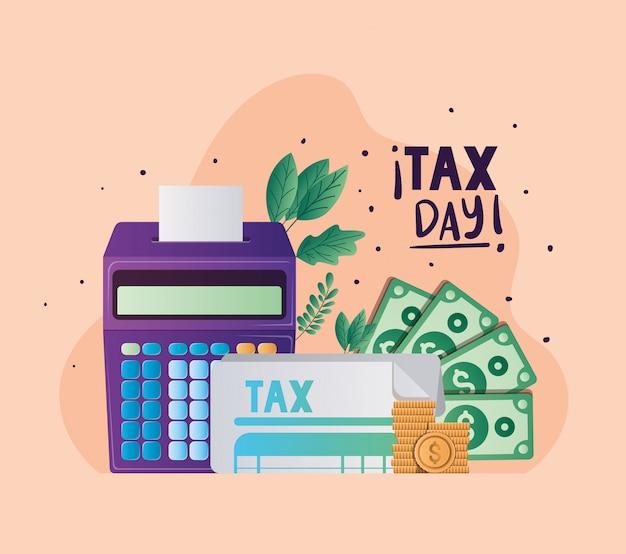 Calculadora de documentos del día fiscal monedas billetes y hojas de diseño vectorial