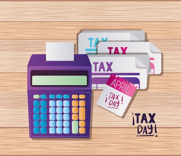 Calculadora de documentos de día de impuestos y diseño de vector de calendario